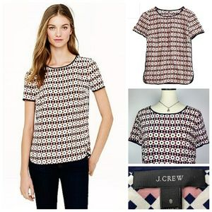 J. Crew 100% Silk Tipped Tee Diamond NWOT